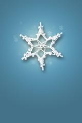 Snow flake on blue background