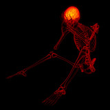 3d rendered red skeleton of a sitting