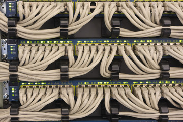 Network UTP cables connected to a router