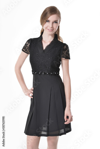 A photo of beautiful girl is in fashion style, posing in studio