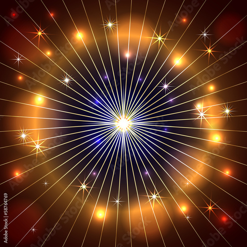 Vector abstract star, rays and fire dark background