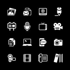 Multimedia Icons basic white series