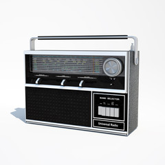 Isolated vintage world band radio 3d illustration