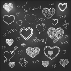 Set of hand drawn hearts on chalkboard background eps 10