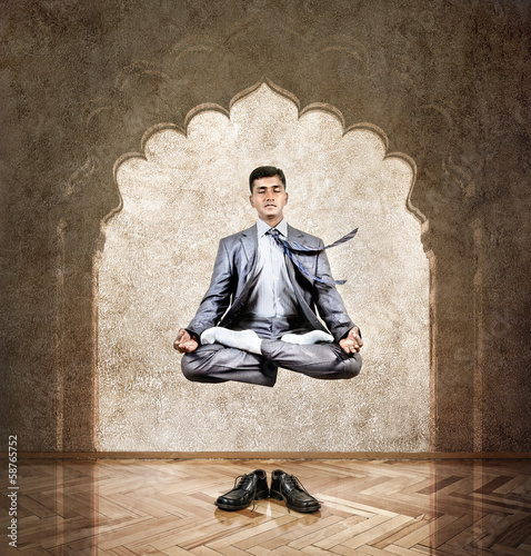 Yoga meditation in the air