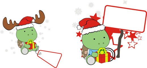 turtle xmas baby claus gift copysapce set