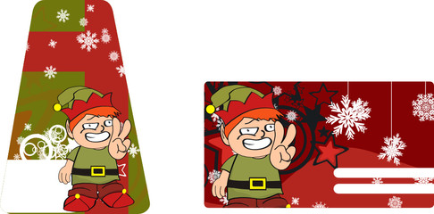 xmas gnome kid sticker card2