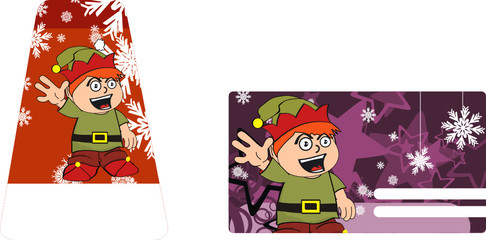 xmas gnome kid sticker card