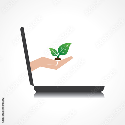 hand holding plant comes from laptop screen stock vector