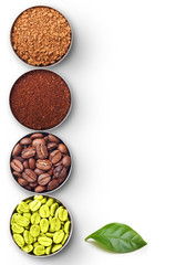 Bowls with green, roasted coffee beans, ground and instant