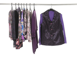 Variety of casual  fashion clothing on hanging