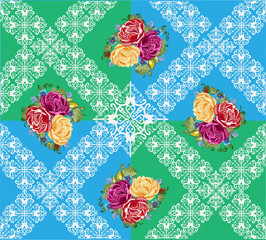 rose flowers on green and blue decorated background