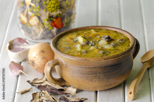 Vegetable soup with mushrooms