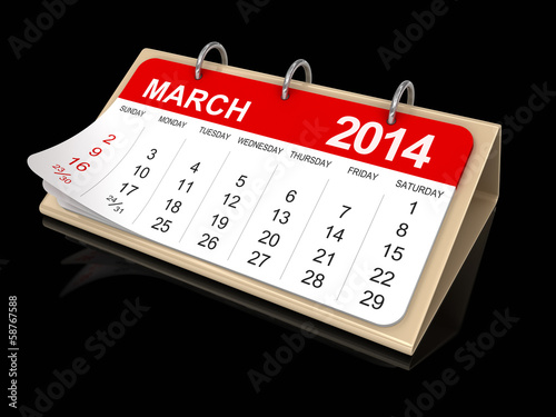 Calendar -  March 2014  (clipping path included)