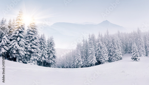 Panorama of the foggy winter landscape in the mountains - 58767777