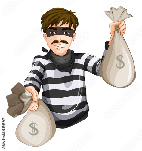 A robber with two sacks of cash