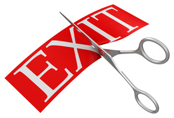 Scissors and Exit (clipping path included)