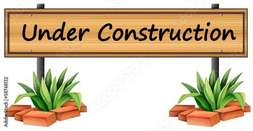 An under construction sign