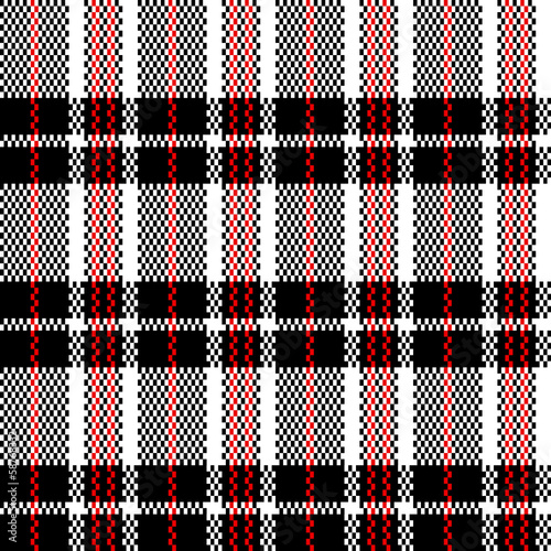 Chinese plaid checker bag in black and white seamless pattern