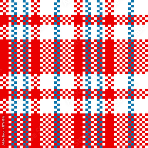 Chinese plaid checker bag in red and white seamless pattern