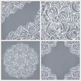 Vintage set: seamless lace pattern, round and corner decor.