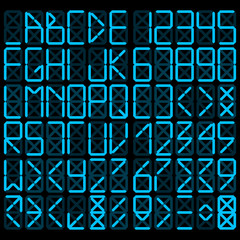 Digital alphabet - blue on a black background