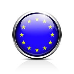 European Union icon shiny glass. EU flag