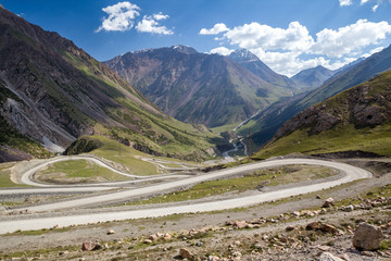 Winding road in Tien Shan mountains