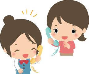 電話をかける若い女性と受付の女性
