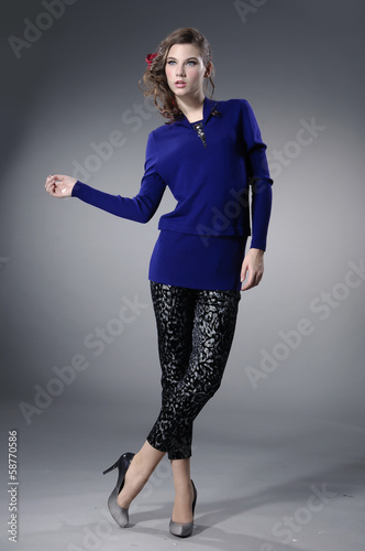 Full body Attractive young fashion model posing
