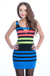 beauty woman in colored stripe dress