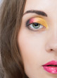 beauty woman face with bright make-up