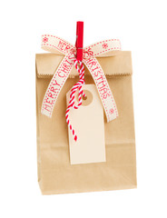 paper bag with empty tag  for christmas