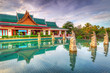 Oriental style architecture in Thailand at sunrise