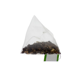 Luxury Pyramid Teabag isolated on White
