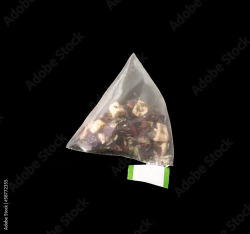Luxury Pyramid Teabag isolated on Black