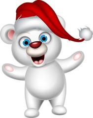 polar bear and Santa hat