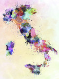Italy map watercolor style splash