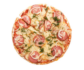 sausage and onion pizza on white background