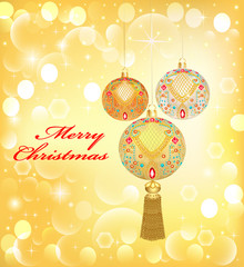 background Christmas with decorative balls and sequins