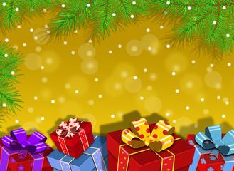 Новогодний векторный фон. Ёлка,подарки.