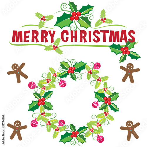 Christmas wreath banner, vector format