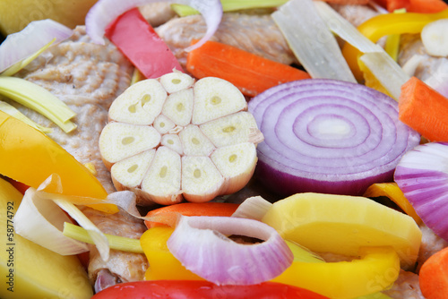 vegetables and chicken