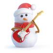 Santa snowman plays guitar