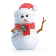 Santa snowman sings a Christmas song