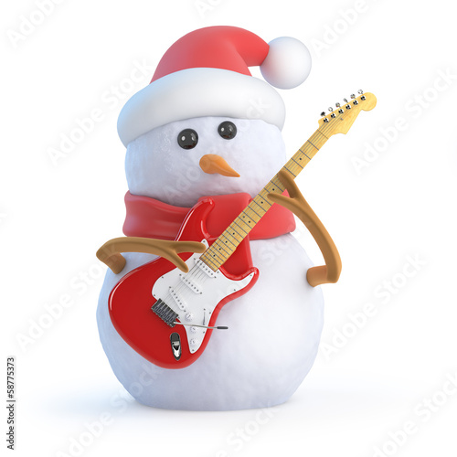 Santa snowman plays guitar