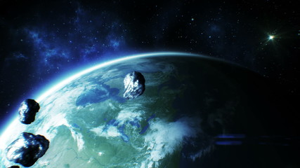 Asteroids fly near Earth. HD 1080.