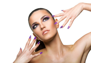 Beautiful woman close up over white background  with nails