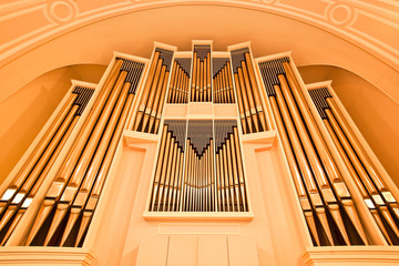 The church organ closeup golden