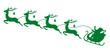Christmas Sleigh Santa & 4 Flying Reindeers Green